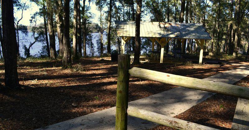 Luther Hall Landing - paved walkway to picnic pavilion