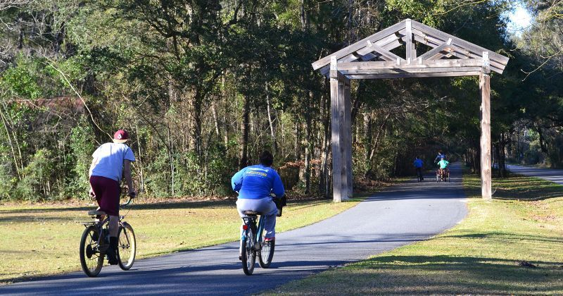 Multi-use paved trail at Wakulla Station Trailhead, Historic Railroad State Trail