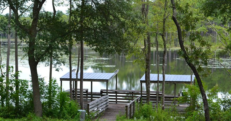 Fishing dock at Trout Pond Recreation and GF&A Trail