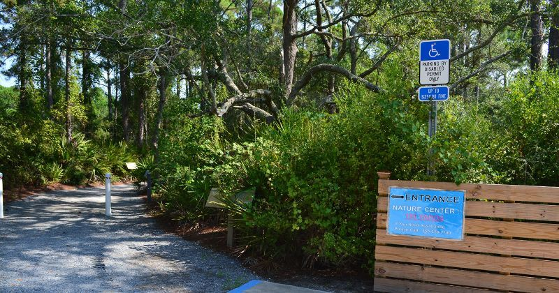 Apalachicola National Estuarine Research Reserve Visitor Center - parking and entrance walkway
