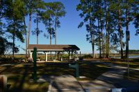 Ochlockonee River State Park - parking at picnic pavilion with drinking fountain and access to the dock by Sopchoppy River swimming area