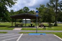 Picnic area with grills at Wakulla Station Trailhead, St. Marks Historic Railroad State Trail