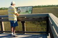 Informational exhibit on marsh boardwalk at Bald Point State Park