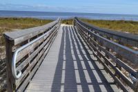 Boardwalk to landing at Northend Beach, Bald Point State Park
